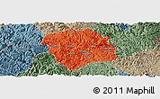 Political Panoramic Map of Lingyun, semi-desaturated