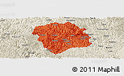 Political Panoramic Map of Lingyun, shaded relief outside