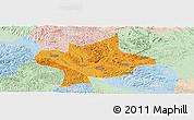 Political Panoramic Map of Long An, lighten