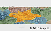 Political Panoramic Map of Long An, semi-desaturated