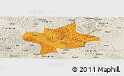 Political Panoramic Map of Long An, shaded relief outside