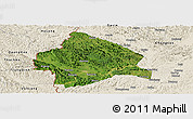 Satellite Panoramic Map of Longzhou, shaded relief outside