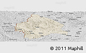Shaded Relief Panoramic Map of Longzhou, desaturated