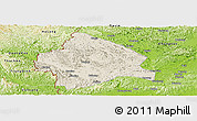 Shaded Relief Panoramic Map of Longzhou, physical outside