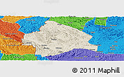 Shaded Relief Panoramic Map of Longzhou, political outside