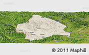 Shaded Relief Panoramic Map of Longzhou, satellite outside