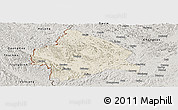 Shaded Relief Panoramic Map of Longzhou, semi-desaturated