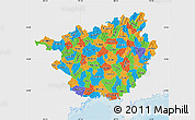 Political Map of Guangxi, single color outside
