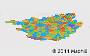 Political Panoramic Map of Guangxi, cropped outside