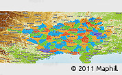 Political Panoramic Map of Guangxi, physical outside