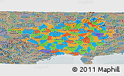 Political Panoramic Map of Guangxi, semi-desaturated