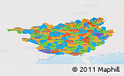 Political Panoramic Map of Guangxi, single color outside