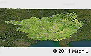 Satellite Panoramic Map of Guangxi, darken