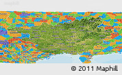 Satellite Panoramic Map of Guangxi, political outside