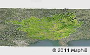 Satellite Panoramic Map of Guangxi, semi-desaturated