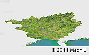 Satellite Panoramic Map of Guangxi, single color outside