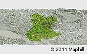 Satellite Panoramic Map of Pingguo, lighten, semi-desaturated