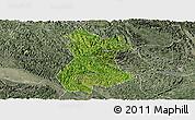 Satellite Panoramic Map of Pingguo, semi-desaturated
