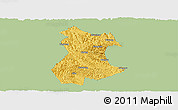 Savanna Style Panoramic Map of Pingguo, single color outside