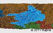Political Panoramic Map of Tian E, darken
