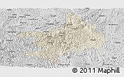 Shaded Relief Panoramic Map of Tian E, desaturated