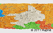 Shaded Relief Panoramic Map of Tian E, political outside