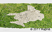 Shaded Relief Panoramic Map of Tian E, satellite outside