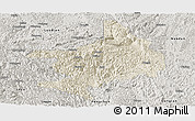 Shaded Relief Panoramic Map of Tian E, semi-desaturated