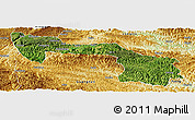 Satellite Panoramic Map of Xilin, physical outside