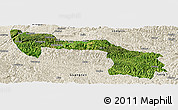 Satellite Panoramic Map of Xilin, shaded relief outside