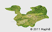 Satellite Panoramic Map of Yongning, single color outside