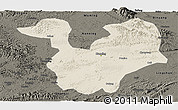 Shaded Relief Panoramic Map of Yongning, darken