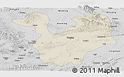 Shaded Relief Panoramic Map of Yongning, desaturated
