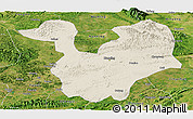 Shaded Relief Panoramic Map of Yongning, satellite outside
