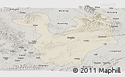 Shaded Relief Panoramic Map of Yongning, semi-desaturated