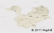 Shaded Relief Panoramic Map of Yongning, single color outside