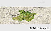Satellite Panoramic Map of Anshun, shaded relief outside