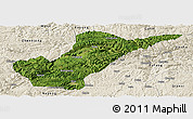Satellite Panoramic Map of Bijie, shaded relief outside