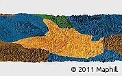 Political Panoramic Map of Ceheng, darken