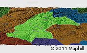 Political Panoramic Map of Dafang, darken