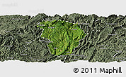 Satellite Panoramic Map of Daozhen, semi-desaturated