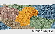 Political Panoramic Map of Dushan, semi-desaturated