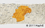 Political Panoramic Map of Dushan, shaded relief outside