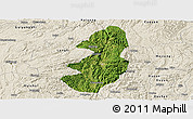 Satellite Panoramic Map of Guiding, shaded relief outside