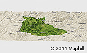 Satellite Panoramic Map of Huangping, shaded relief outside