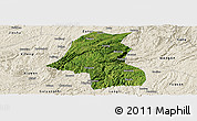 Satellite Panoramic Map of Kaiyang, shaded relief outside