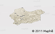 Shaded Relief Panoramic Map of Luodian, cropped outside