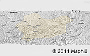 Shaded Relief Panoramic Map of Luodian, desaturated