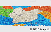 Shaded Relief Panoramic Map of Luodian, political outside