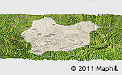 Shaded Relief Panoramic Map of Luodian, satellite outside